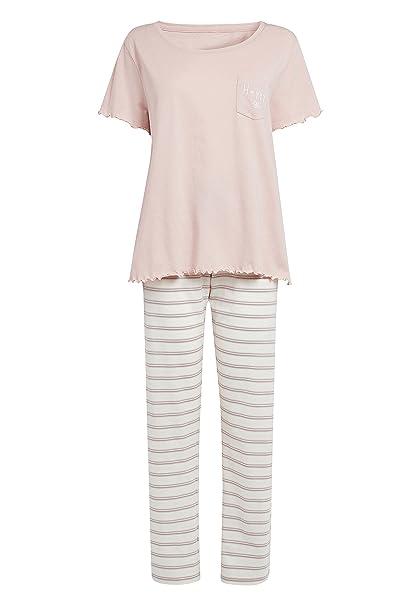 next Mujer Pijama con Rayas, Bolsillos Y Eslogan