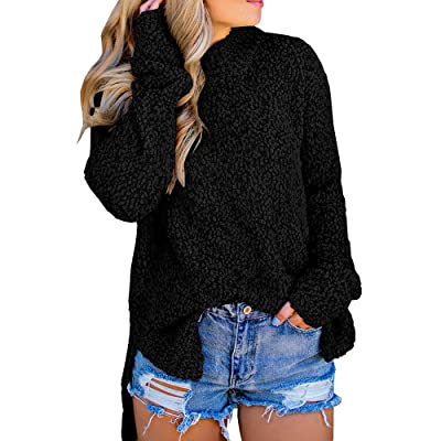 Imily Bela Womens Fuzzy Knitted Sweater Sherpa Fleece Side Slit Full Sleeve Jumper Outwears at Women's Clothing store