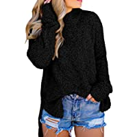 Imily Bela Womens Fuzzy Knitted Sweater Sherpa Fleece Side Slit Full Sleeve Jumper Outwears
