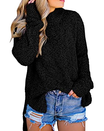 0a62ed0af8 Seraih Womens Fuzzy Sherpa Fleece Long Sleeve Sweaters Loose Asymmetric  Pullovers Coat Black