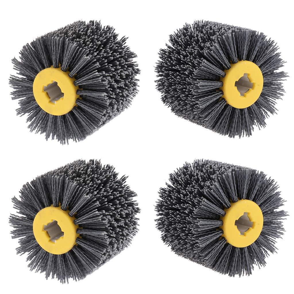 Fityle 4 x Abrasive Wire Drawing Wheel Burnishing Drum Grinding Polishing Tools for Wood Doors & Floors
