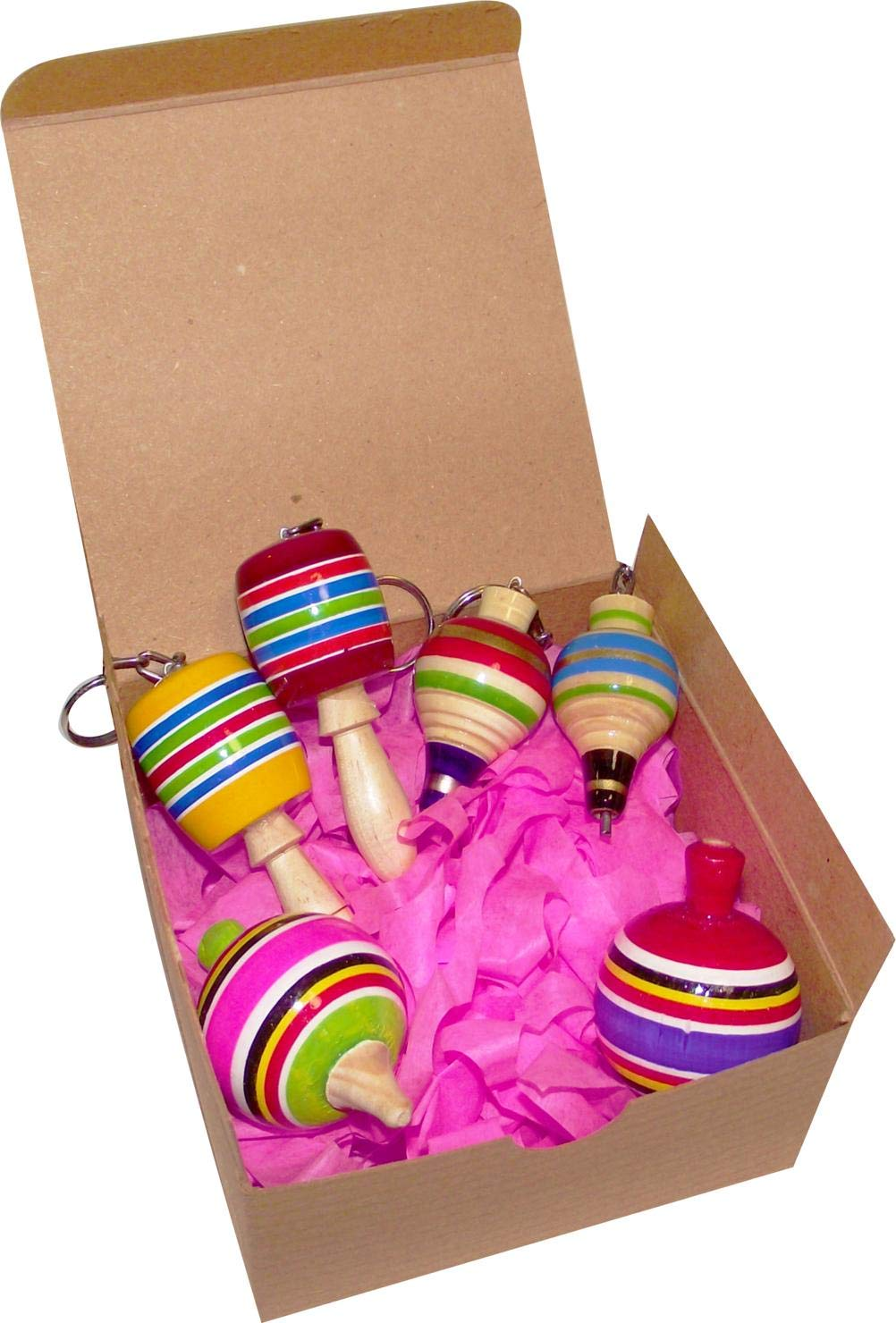 MoreFiesta Fine Mini Wooden Balero, Spin top and Trompo Keychain - Six Traditional Mexican Miniature Toys Box by MoreFiesta (Image #2)