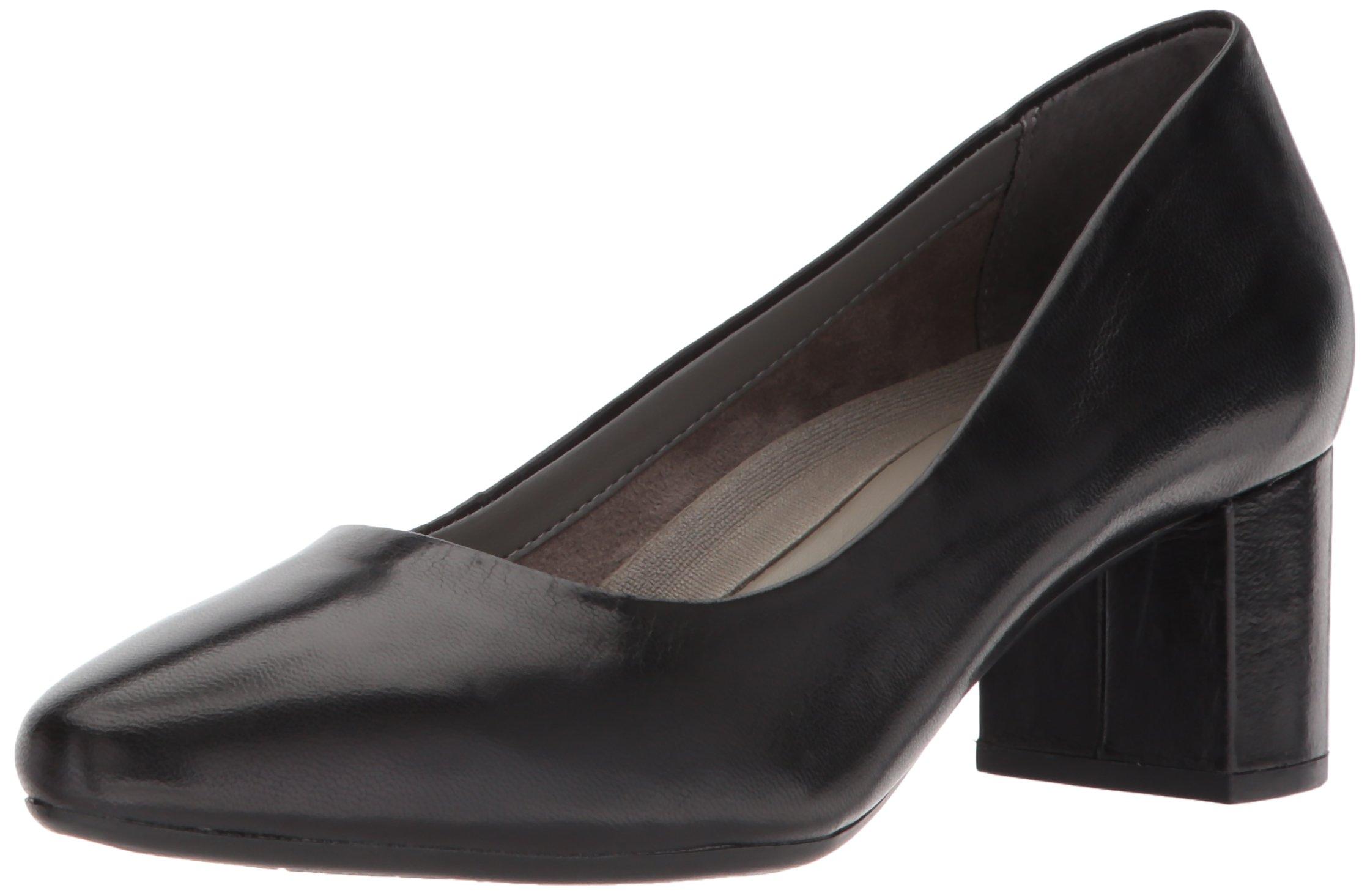Aerosoles Women's Silver Star Pump, Black Leather, 7.5 W US