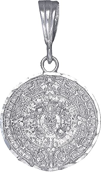 Amazon ejewelryplus sterling silver aztec calendar mayan sun amazon ejewelryplus sterling silver aztec calendar mayan sun charm pendant necklace diamond cuts 20mm with 18 sterling silver rolo chain jewelry aloadofball Image collections