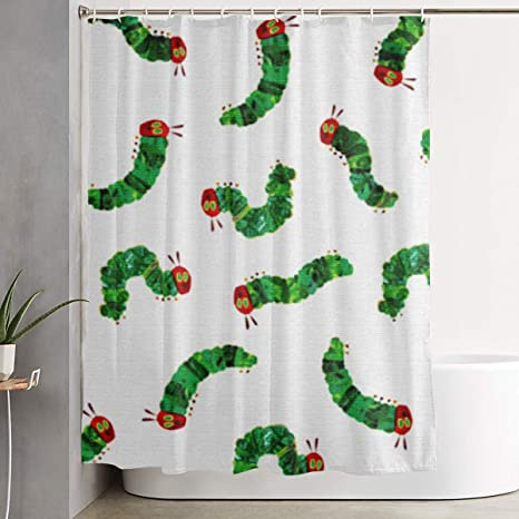 Amazon Com Kzematli Very Hungry Caterpillar Shower Curtain Bathroom Polyester Fabric Waterproof Machine Washable With 12 Hooks 59 1x70 9 Inch Home Kitchen