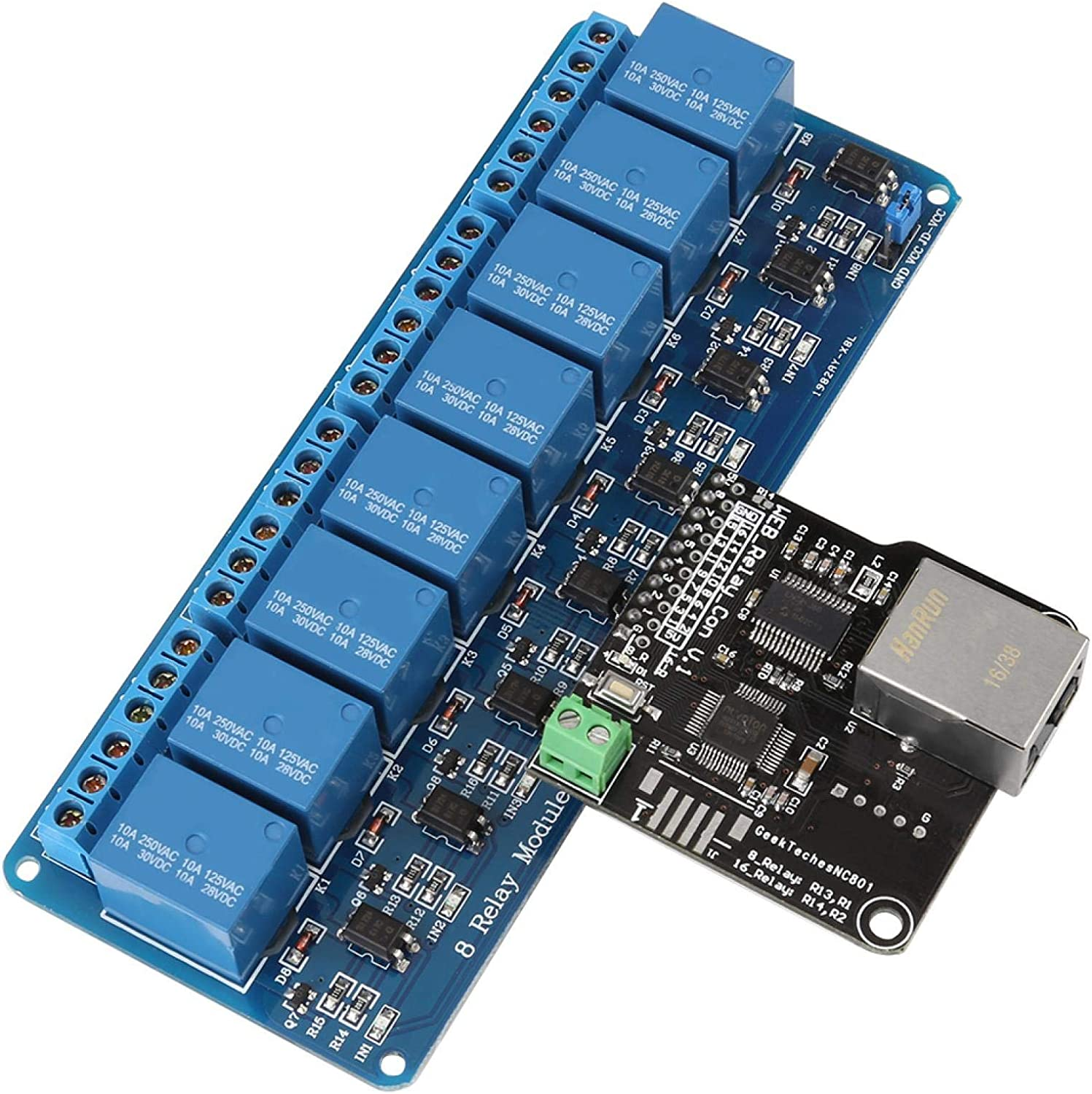 1Pc Relay Network Ethernet Relay Controller Module Control Board,LAN WAN Network Web Server with RJ 45 Interface with 8 Channel Relay Module for Smart Home Remote Control