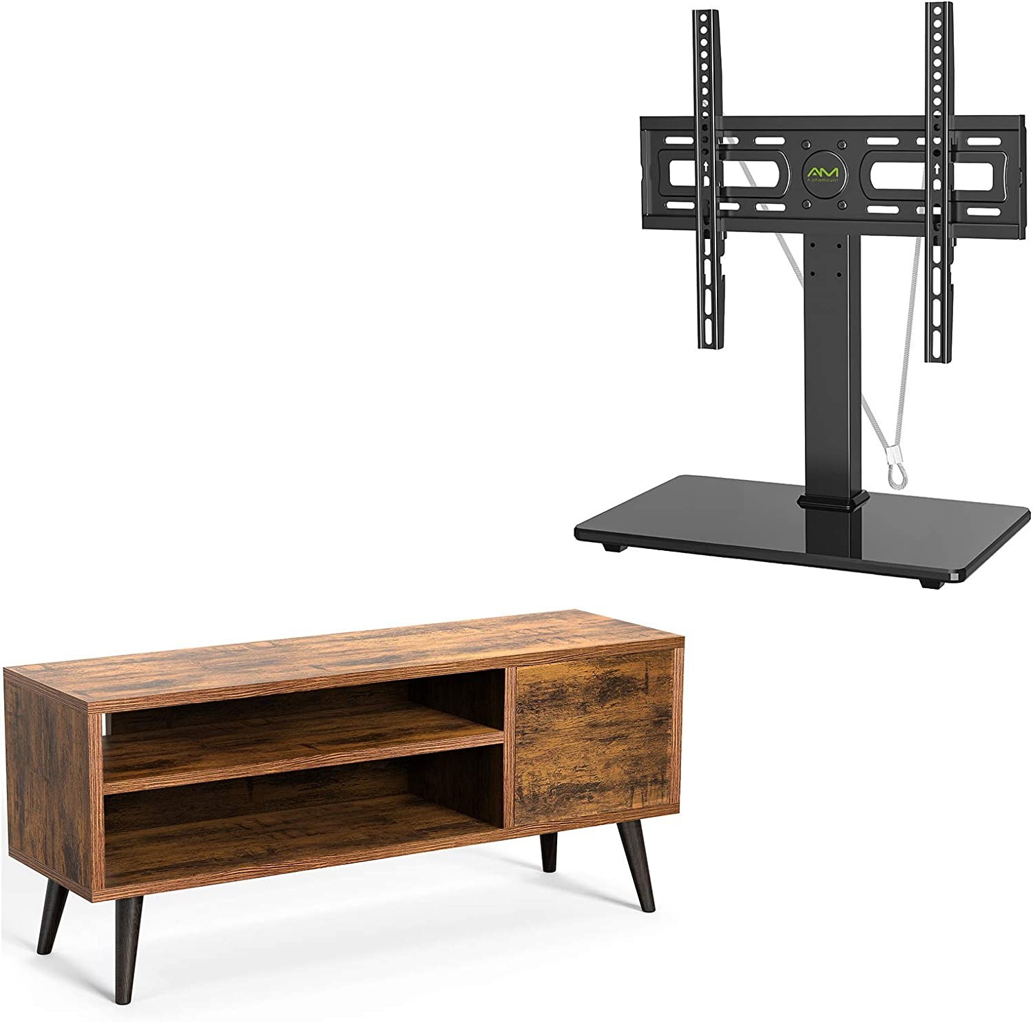 TV Console Table with Storage for TVs up to 55 Inch, Retro TV Stand for Media Cable Box Gaming Consoles APRTS01 & Universal TV Stand Table Top TV Base for 26-55 Inch Max VESA 400x400mm APTVS06