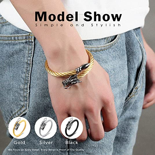 CHARMFAME Simple Gold Plated Stainless Steel Open Bangle Twisted Cuff Bracelet Fashion Jewelry for Women /& Girls
