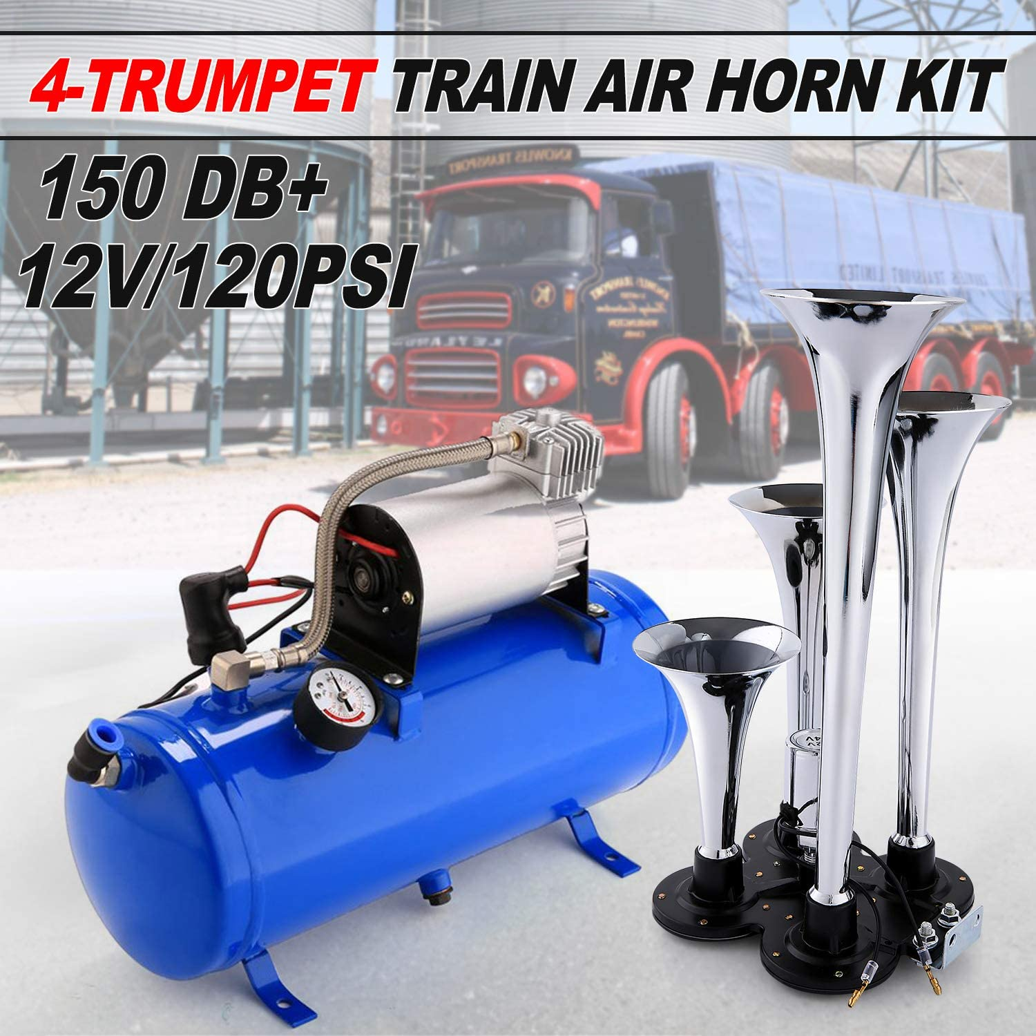 OppsDecor 12V 150DB Car Air Horn Kit Jeep or SUV Truck 4 Trumpet Train Vehicle Air Horn with 120PSI Air Compressor for All Kinds of Vehicle Blue Car