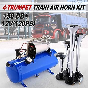 12V Dual Trumpet Air Horn Compressor Kit For Van Train Car Truck Boat 150db US