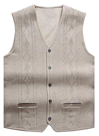 OULIU Mens Fashion V-neck Button Down Business Suits Jacket Vest