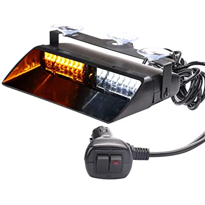 ASPL 12V 16 LED High Intensity LED Law Enforcement Emergency Hazard Warning Strobe Lights for Interior Roof/Dash/Windshield with Suction Cups (Amber/White): Automotive