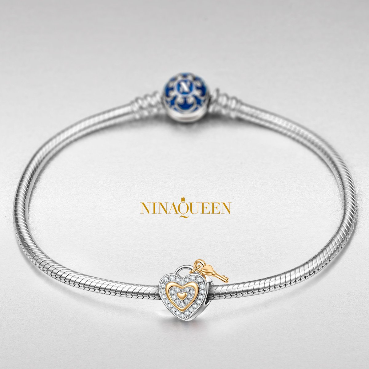 NINAQUEEN 925 Sterling Silver Charms Anniversary s Jewelry Gifts with Fine Gifts Packing, Gold Plated Heart Key Beads Engraved Love You Forever, Suitable for Bracelet for Her