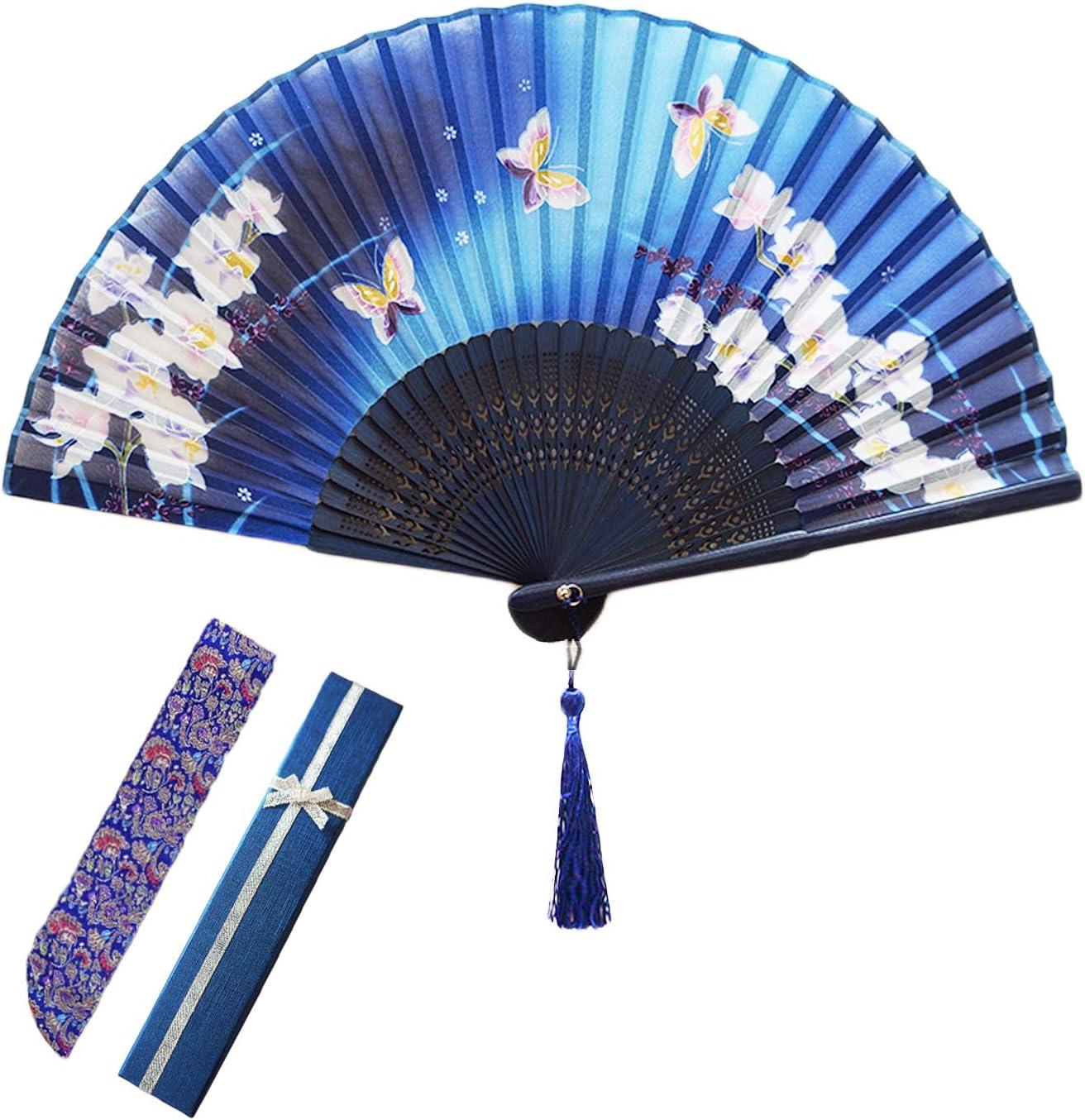 FtingSun Ventaglio Pieghevole in Seta Giapponese per Ballerina e Feste in Maschera Blue con Telaio in bamb/ù Stile Cinese