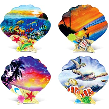 CoTa Global Colorful Tropical Shells - 3D Designs - Summer Magnet (4pc Set) - Item #7573