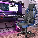 FurnitureR Silla de oficina Silla de juego de cuero para silla de ruedas, Silla de carreras ergonómica ajustable con respaldo alto, Silla ejecutiva giratoria para computadora con malla transpirable Azul