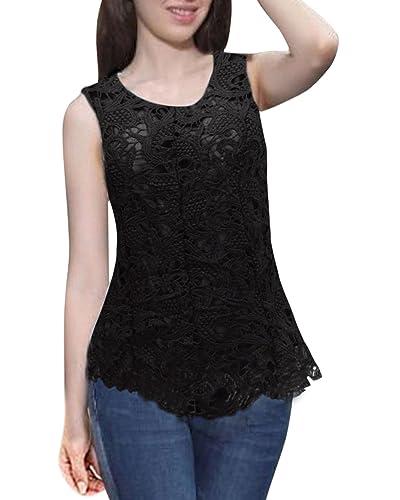 ZANZEA Mujere Blusa Camiseta sin Mangas Elegante Chiffón Encaje Escote Redondo