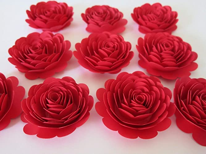 bright red 3 paper flowers set of 10 large roses wedding centerpiece table