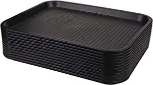 Yarlung 12 Pack Fast Food Tray, 13.75 x 10.5 Inch Plastic Restaurant Serving Tray for Coffee Table, Kitchen, Party, Black