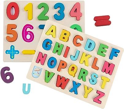 Jacootoys Puzzle de Madera Alfabeto y números Rompecabezas Juego de Mesa Aprendizaje Regalo Juguete Educativo para Niños: Amazon.es: Juguetes y juegos