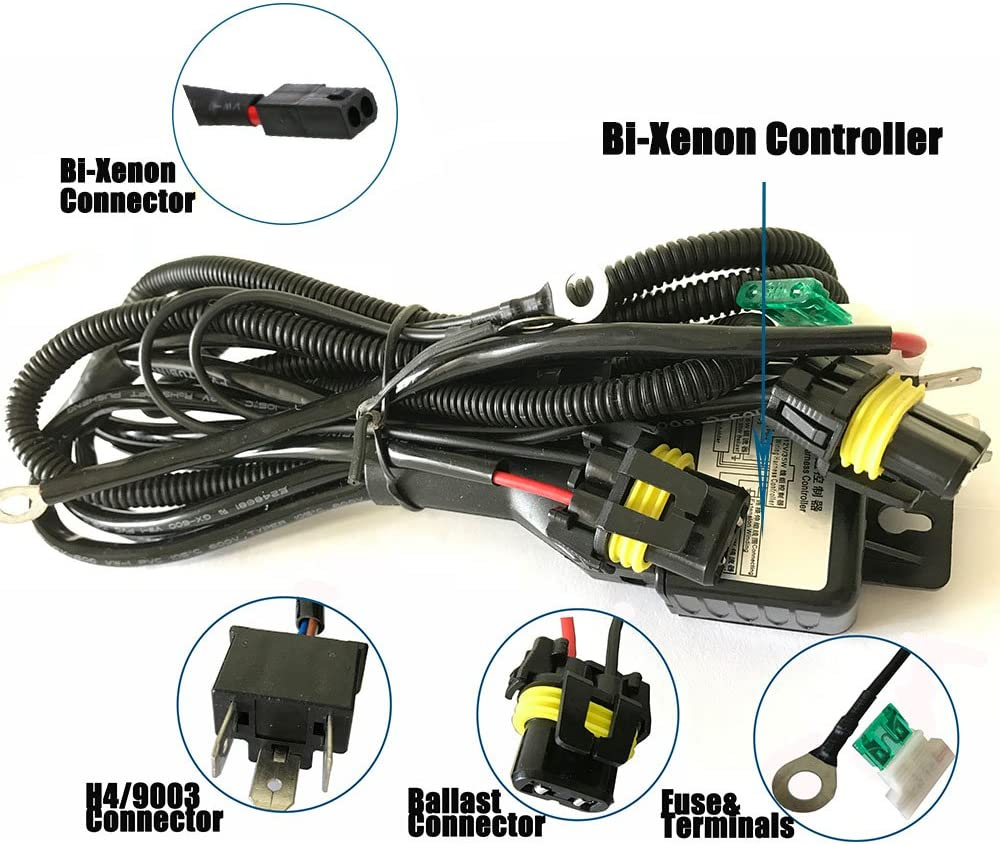 h4 hid relay wiring diagram amazon com h4 wiring harness high low beam hid kit relay harness  h4 wiring harness high low beam hid kit