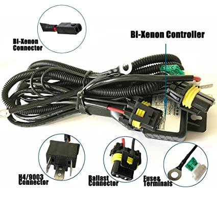 amazon com h4 wiring harness high low beam hid kit relay harness h4