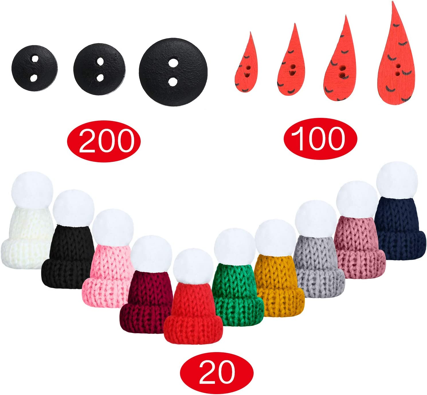 240 Pieces DIY Christmas Snowman kit Included Mini Knit Christmas Hats,Carrot Noses Buttons and Tiny Black Buttons for Christmas Snowman Crafting and Sewing Supplies