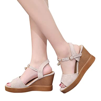 18b0efd5c3dc2 Amazon.com: Goldweather Women's Wedges Sandals Ladies Summer High ...