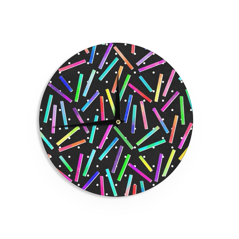 Kess InHouse Noonday Design Confetti Party Black Multicolor Wall Clock 12-Inch