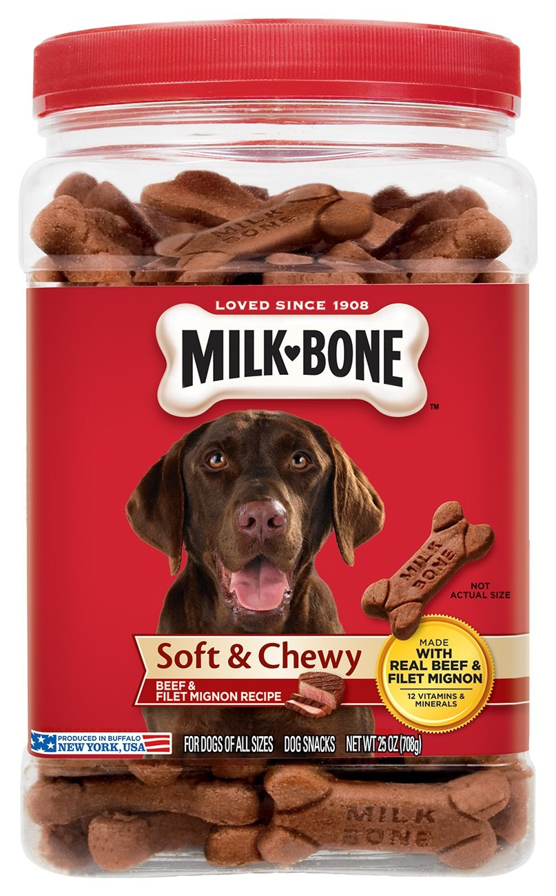 25 oz Milk-Bone Soft & Chewy Beef & Filet Mignon Recipe Dog Treats, 25-Ounce