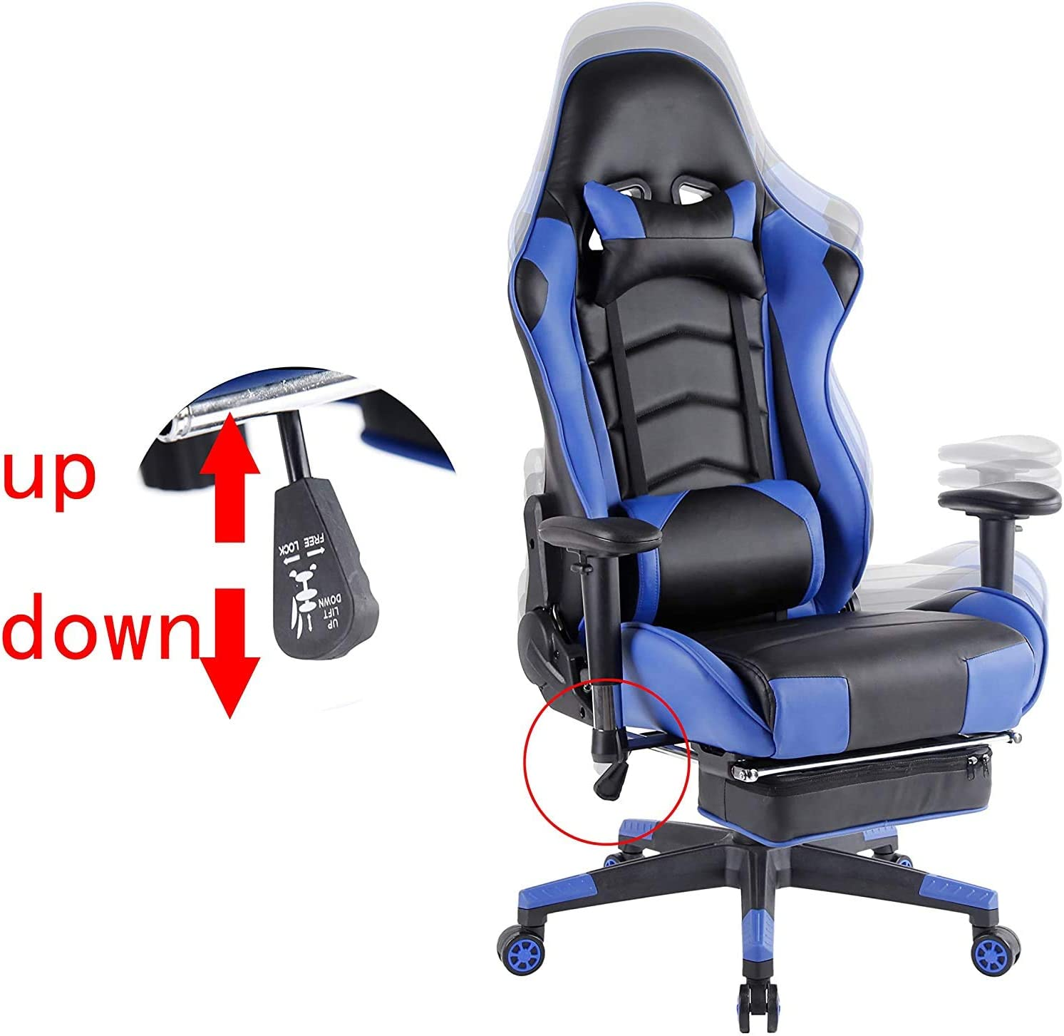 Kcream Gaming Chair Office Chair High Back Computer Chair PU Leather Desk Chair PC Racing Executive Ergonomic Adjustable Swivel Task Chair with Headrest Lumbar and Support Retractible Footrest Blue