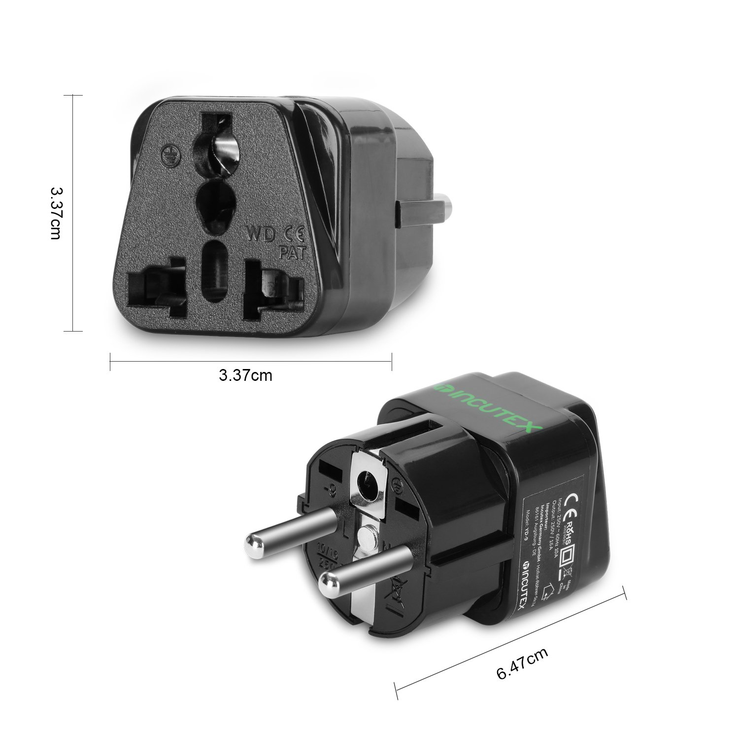 Incutex 3x Reisestecker UK GB England Travel Adapter EU Schuko 2-Pin auf UK 3-Pin Reise Steckdosenadapter Weiß