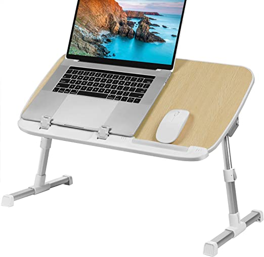 Portable Gaming Computer Desk Tablet Stand,White Height Adjustable Tray Side Table,Overbed Table Stand XMZFQ Standing Laptop Desk