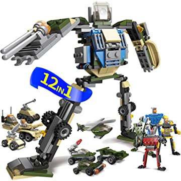12in1 Robot Car Blocks Building Bricks - Military Stem Assembly Egg Toy - transform Deformation Model - Educational Action Figure Kit Set - Best Gift for Boys Girls Age 6-7-8-9-10-11-12 Year Old Kids