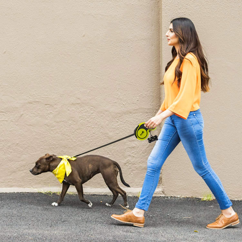 Pecute Guinzaglio per Cani Guinzaglio Retrattile 5 Metri, Resistente agli Strattoni, Adatto per Cani Grandi, Medi e Piccoli