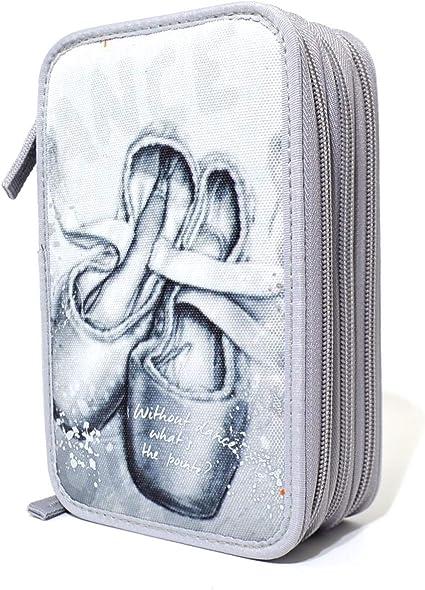 Estuche con tres cremalleras, tamaño completo, color gris claro: Amazon.es: Oficina y papelería