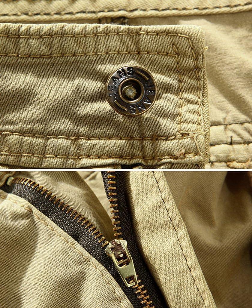 Elonglin Hommes Shorts Bermudas Cargo Outdoor Coton Casual Et/é Cargo Shorts de Loisir Capri Mi-Longues Pantalon Court sans Ceinture