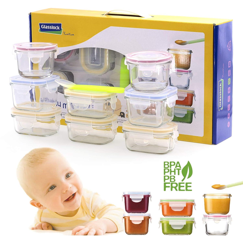 Set Container Glasslock Baby in Hochwertige Hartglas, 100% Wasserdicht, fü r Transport und Aufbewahrung (4X Rechteckig) PracticFood