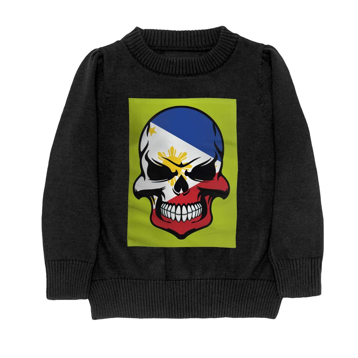 WWTBBJ-B Filipino Flag Skull Cool Philippines Skull Casual Teenager Boys Girls Unisex Sweater Keep Warm