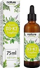 Vitamin D3 + K2 75ml 2550 Tropfen - Premium VitaMK7 von Gnosis® 99,7% All Trans + Vitamin D3 (1000 IE) - Besonders bioverfügbar und stabil - Laborgeprüfte Hergestellung in Deutschland
