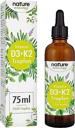 Vitamina D3 + K2 75ml 2550 Gotas - Premium VitaMK7 de Gnosis® 99,7% All Trans + Vitamina D3 (1000 IU) - Especialmente biodisponible - Producción probada en laboratorio en Alemania: Amazon.es: Salud y cuidado personal