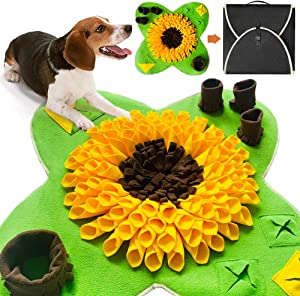 PetFun Dog Snuffle Mat for Feeding, Hunting, Foraging, Dogs Nosework Training Smell Toys-Treat Interactive Puzzle Dispenser, Slow Feeder Mat & Feed Game- Machine Washable