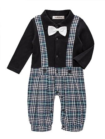 59c9e7ecd226 Amazon.com  stylesilove Chic Faux Plaid Suspender Baby Boy All-In ...