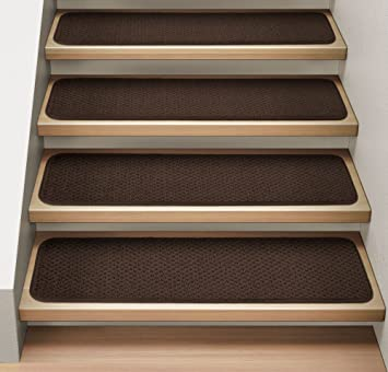 Amazon.com : Set of 12 Attachable Indoor Carpet Stair Treads ...