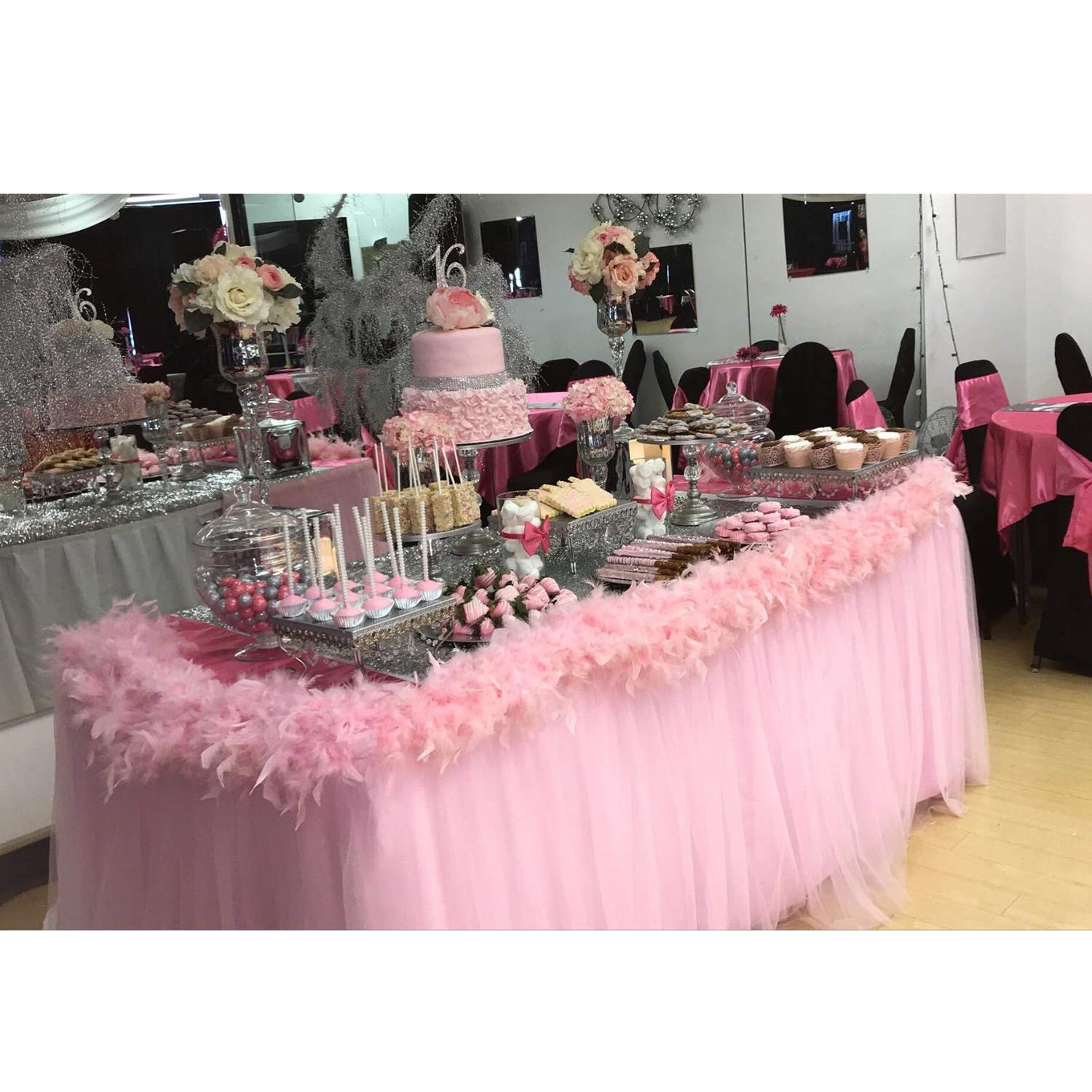 Suppromo 9 ft Pink Tulle Table Skirt for Rectangle or Round Tables Tutu Table Cloth for Party,Wedding,Birthday Party&Home Decoration,Table Skirting (L9(ft) H 30in, Pink)