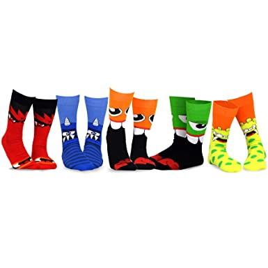 e1814bfea13 TeeHee Novelty Cotton Crew Fun Socks 5-Pack for Women (Monsters-A)   Amazon.co.uk  Clothing