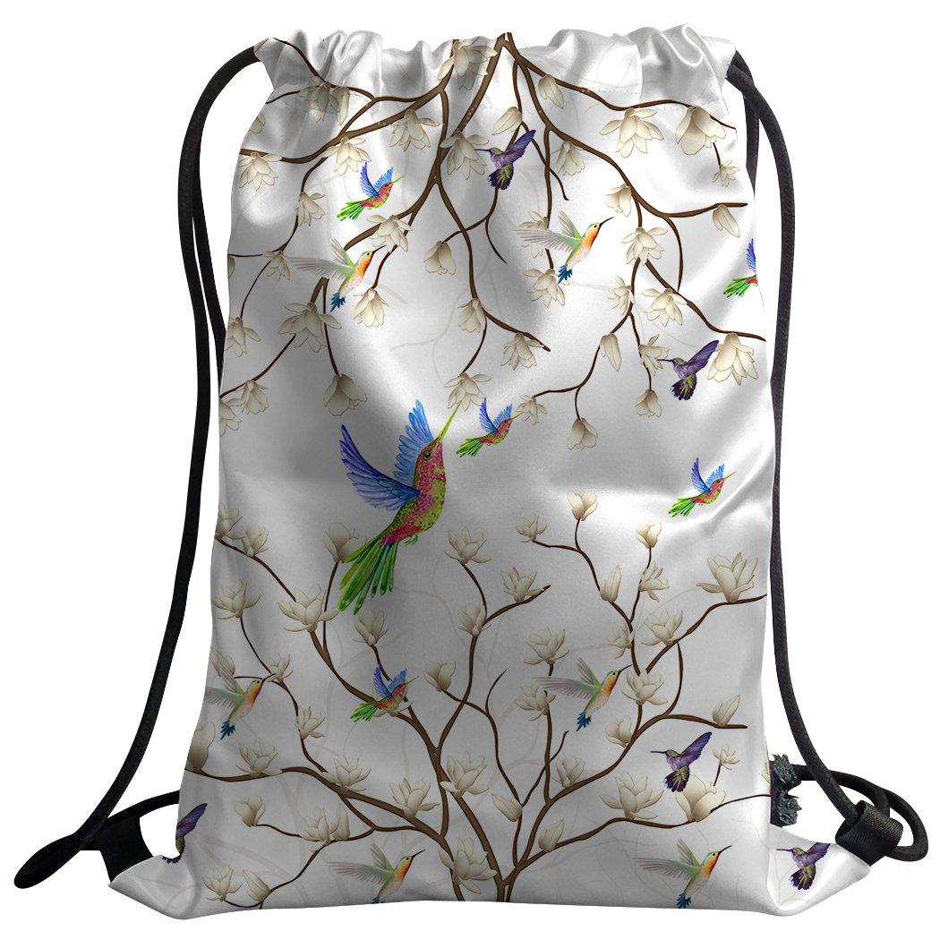 SXCHEN Gym Bag Sack Drawstring Sports Backpack Hummingbird Magnolia Flower Branch Bird sixuechen Modern