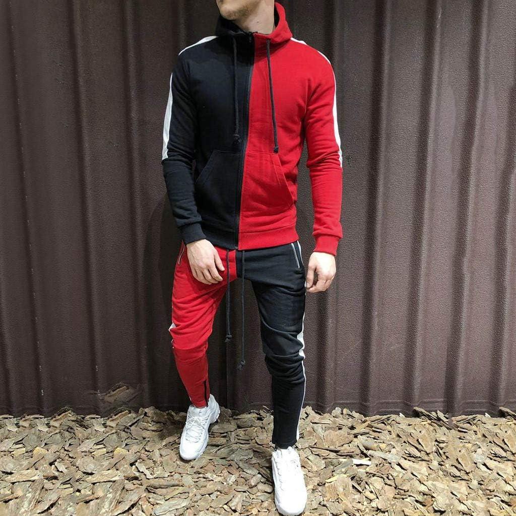 Snowmolle Mens Jogging Full Zipper Tracksuits Long Sleeve Hoodies Gym Joggers Set Colorblock Patchwork Sport Suits