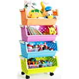 MAGDESIGNER Kids' Toys Storage Organizer Bins Baskets with Wheels Can Move Everywhere Large 4 Baskets Natural/Primary (Primar