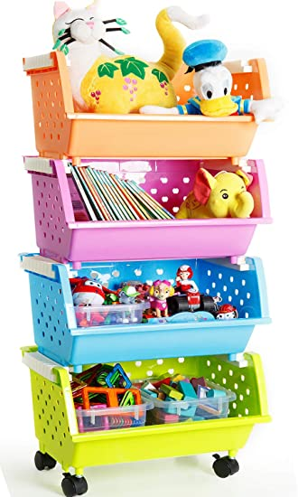 Superbe MAGDESIGNER Kidsu0027 Toys Storage Organizer Bins Baskets With Wheels Can Move  Everywhere Large 4 Baskets